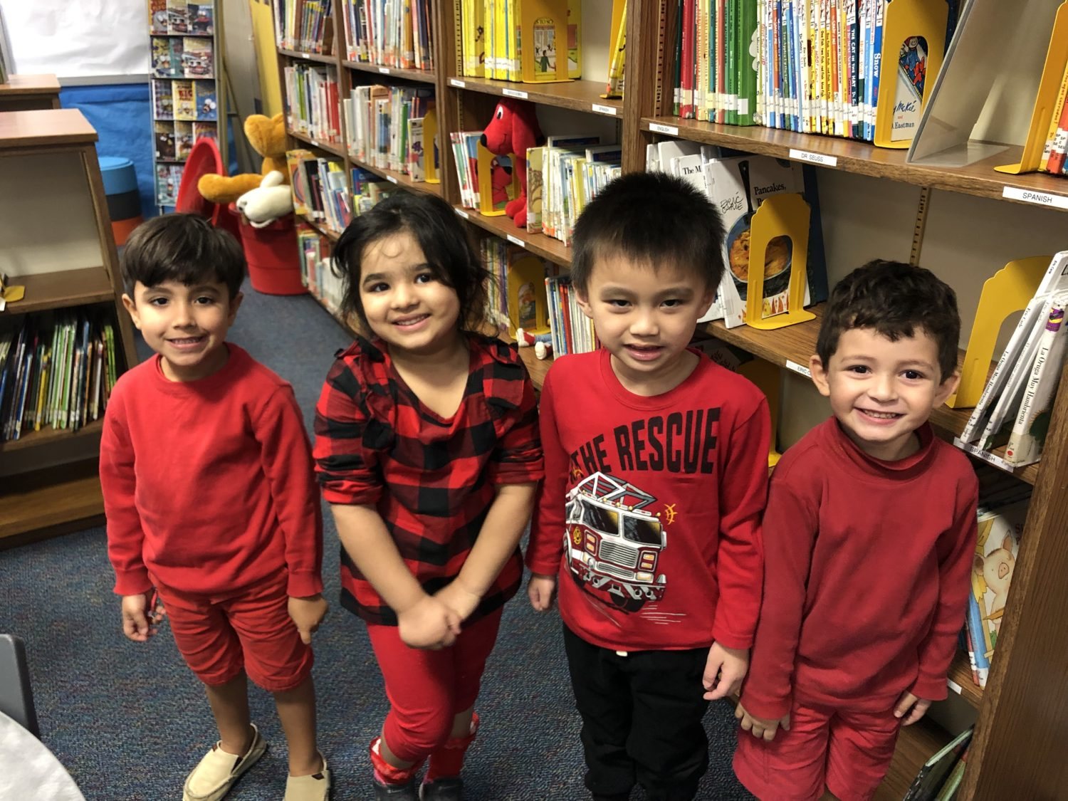 Kids dressed in red